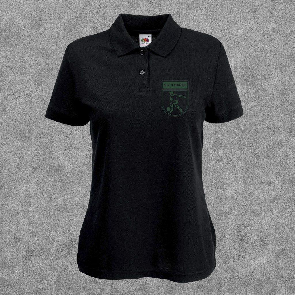 Poloshirt zwart met groen logo
