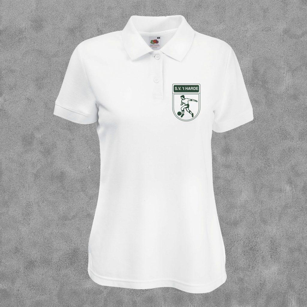 Poloshirt wit met groen logo