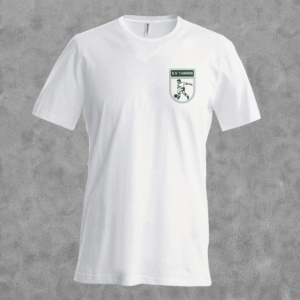 T-shirt wit met groen logo